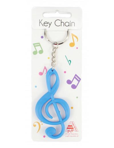 Keyring g-clef blue