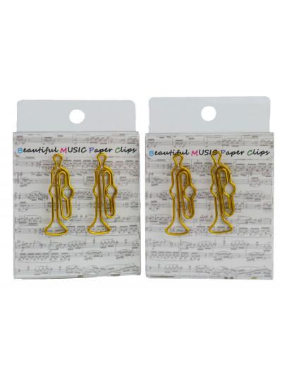 Büroklammer Trompete golden...