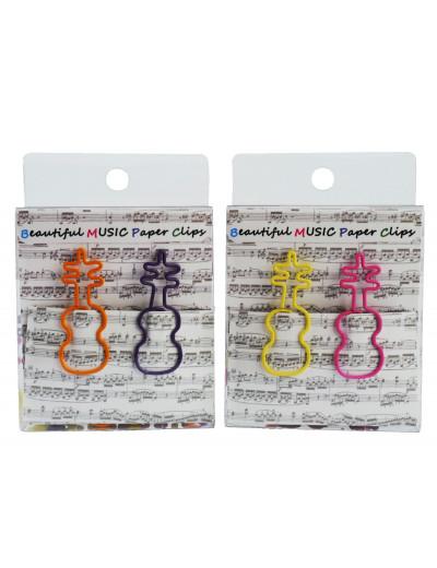 Büroklammer Geige bunt 4C...