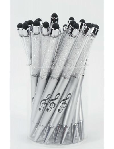 Stylus pen g-clef silver/crystal