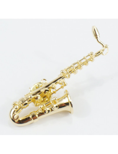 Miniature pin sax 6 cm gold...