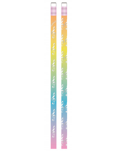 Pencil g-clef colourful/silver
