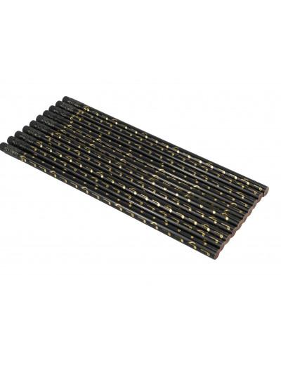 Pencil note black/golden 10 pcs / set