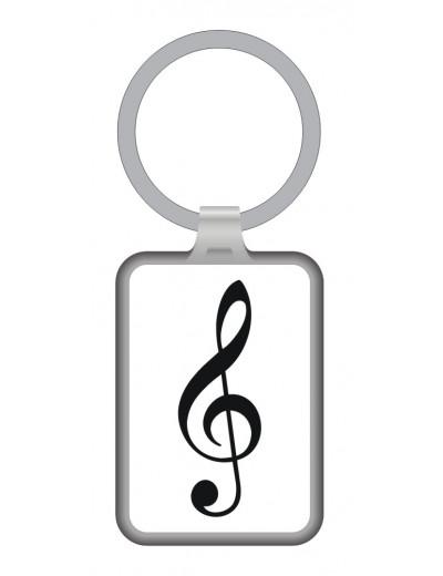 Keyring g-clef white/black...
