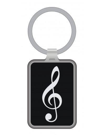 Keyring g-clef black/silver...