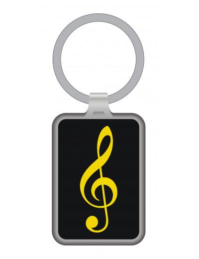Keyring g-clef black/gold...